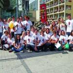 Participation à la première pyramide de chaussures d'Annecy pour Handicap International